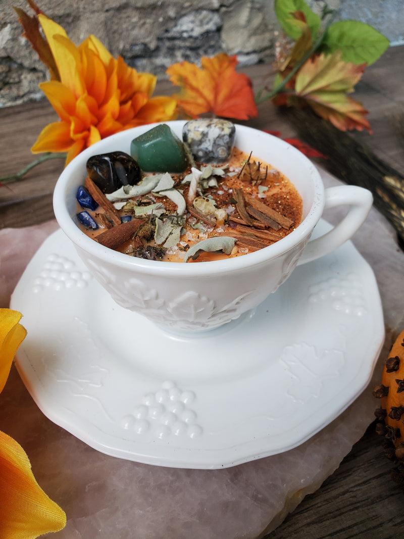 Mabon Fall Equinox Ritual Candle - Milk Glass Tea Cup & Saucer