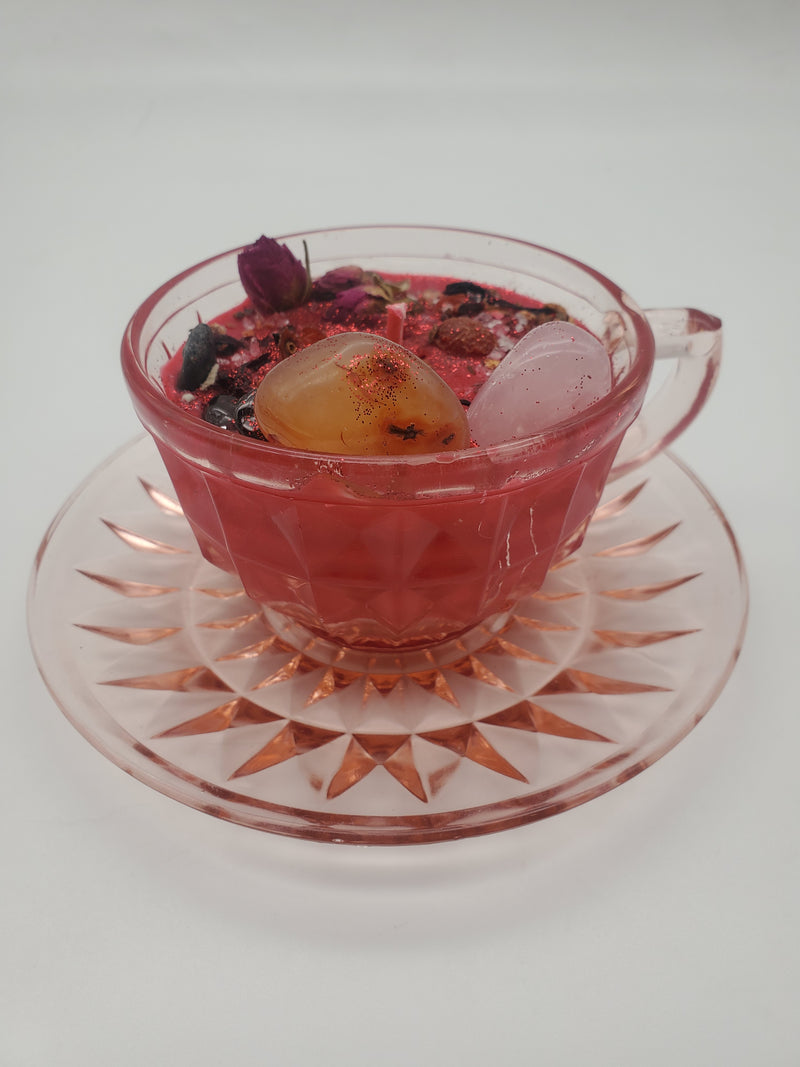Deadly Attraction Spell Candle - Vintage Pink Depression Glass Tea Cup & Saucer