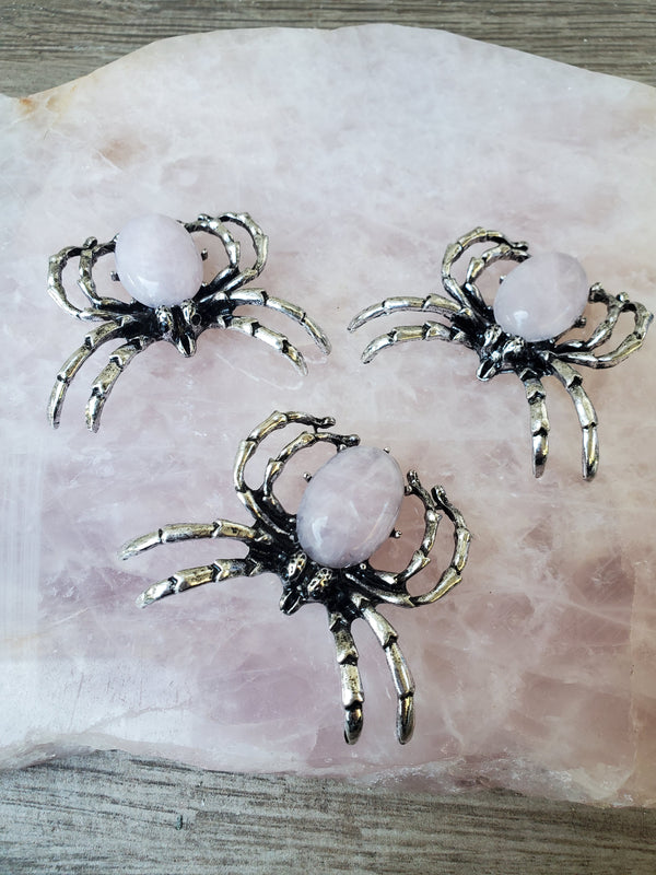 Rose Quartz Spider - Necklace/Pin