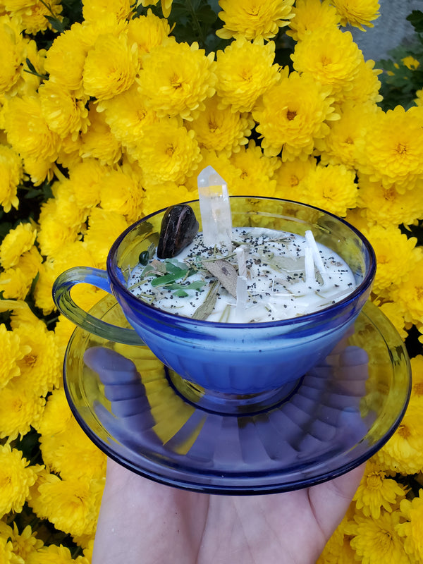 Cleanse Spell Candle - Aurora Blue Tea Cup & Saucer
