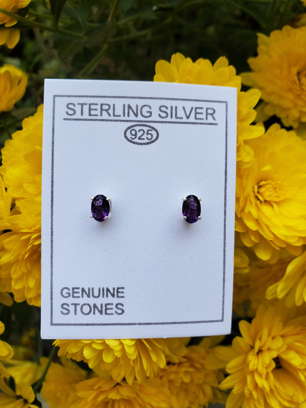 Sterling Silver Oval Amethyst Studs