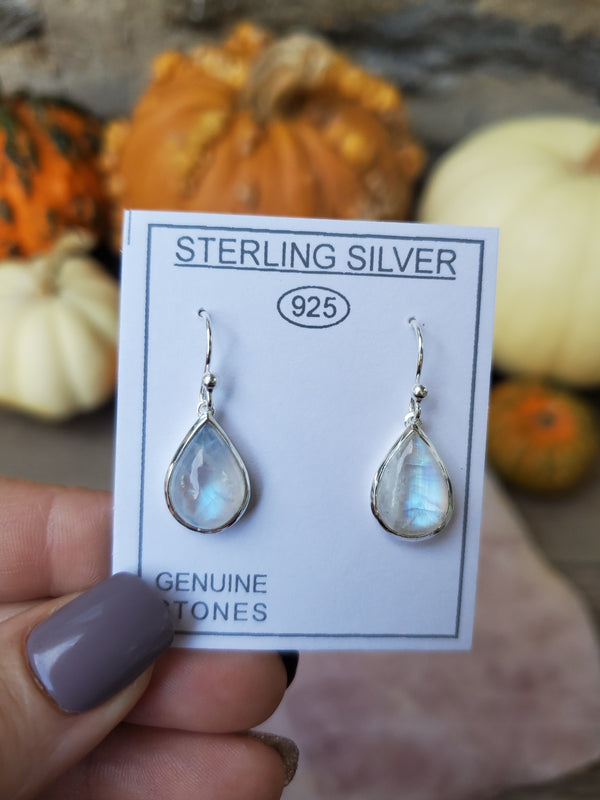 Rainbow Moonstone Sterling Silver Tear Drop Earrings