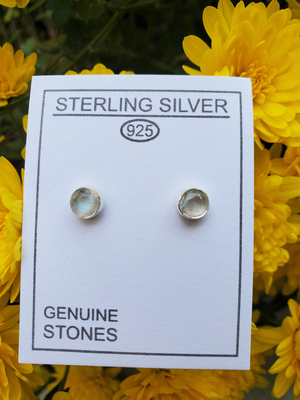 Rainbow Moonstone Sterling Silver Circle Studs