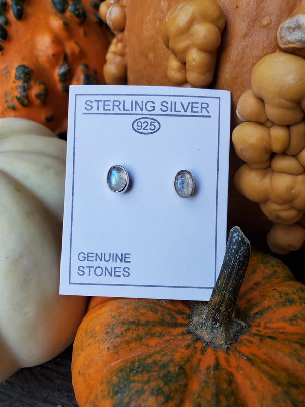 Rainbow Moonstone Sterling Silver Oval Studs