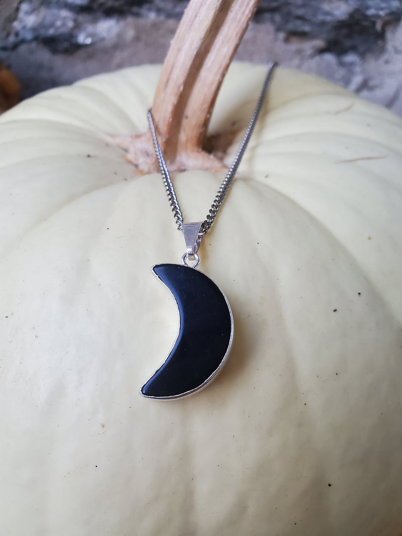 Obsidian Moon Necklace - Silver
