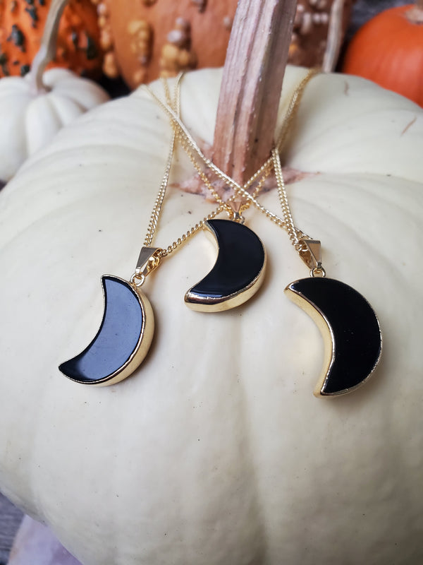 Obsidian Moon Necklace - Gold