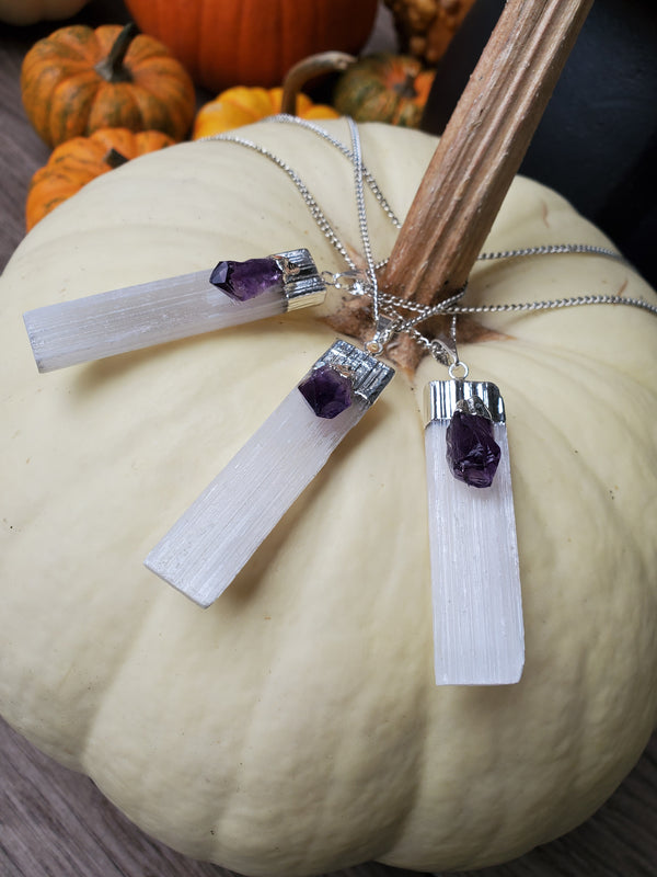 Selenite and Amethyst Pendant - Silver