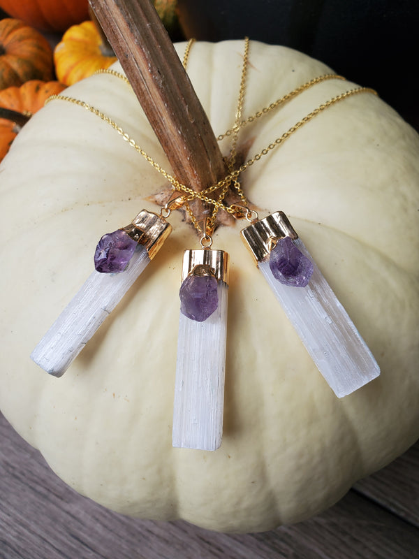 Selenite and Amethyst Pendant - Gold