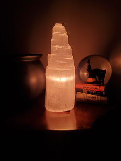 Selenite Lamp with cord and bulb