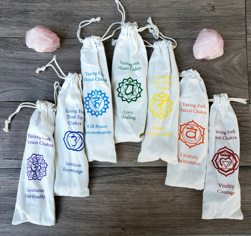 Set of 7 Chakra Tuning Forks with Mallet & Bag