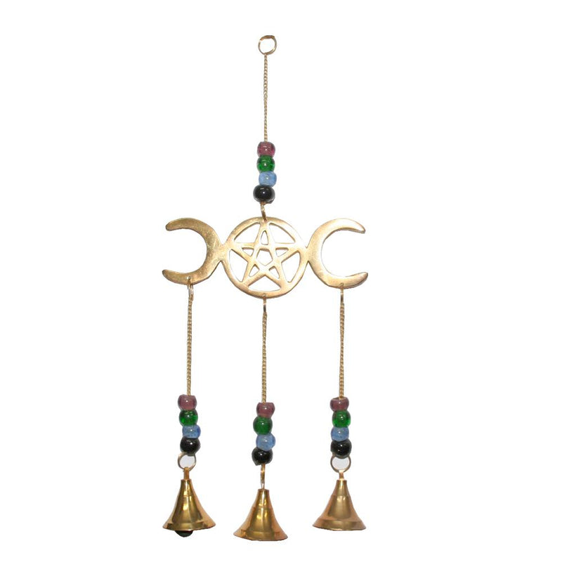Brass Bell Chime Triple Moon with Pentacle