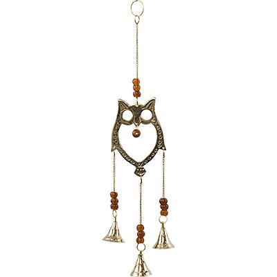 Brass Bell Chime Owl w/ Brown Beads