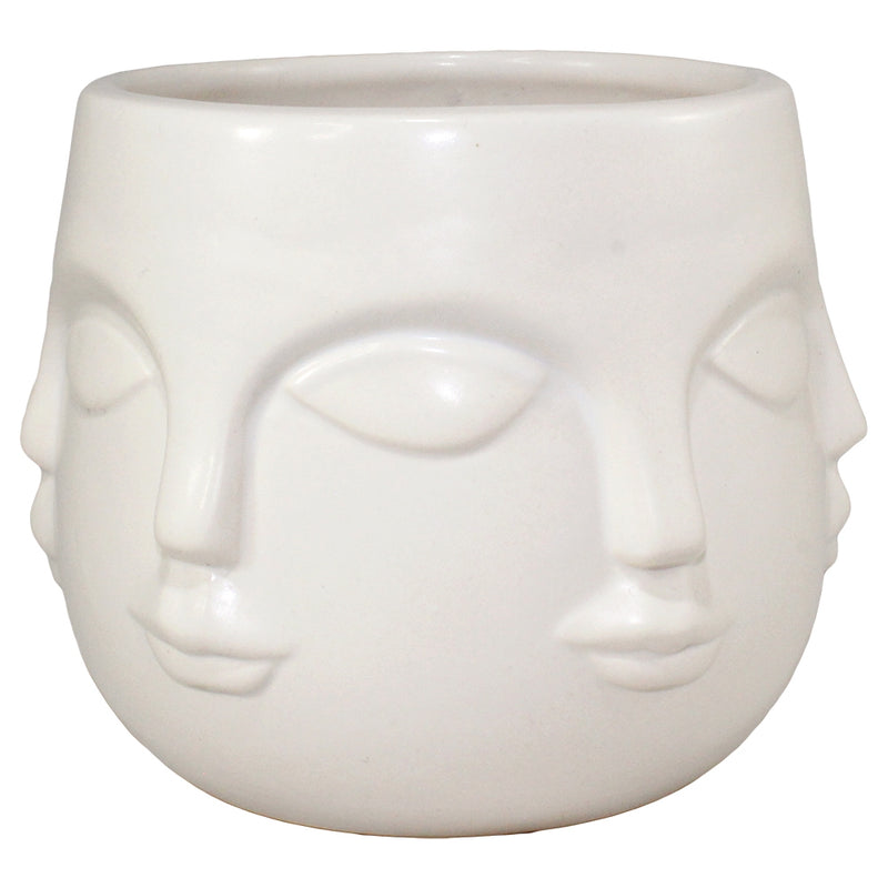 Multi Face Ceramic Pot - White
