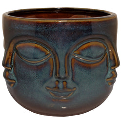 Six Faces Ceramic Pot