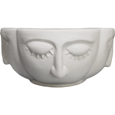 Two Face Ceramic Bowl Pot - White