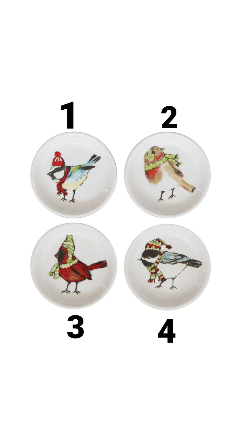 Winter Bird Stoneware Dish - Pick your style!