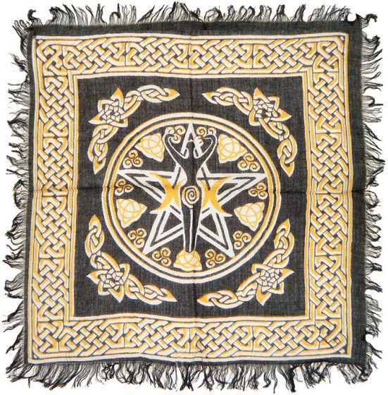 Triple Moon Goddess & Pentagram Altar Cloth