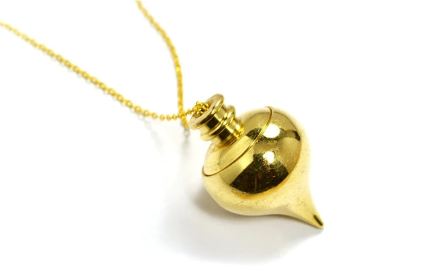 Golden Tear Drop with Compartment Pendulum Necklace