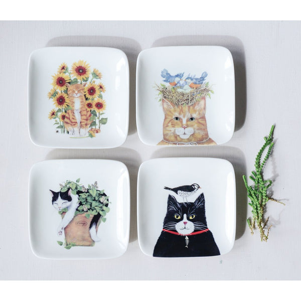 Cat Plates Stoneware - PICK YOUR OWN - 4 Styles