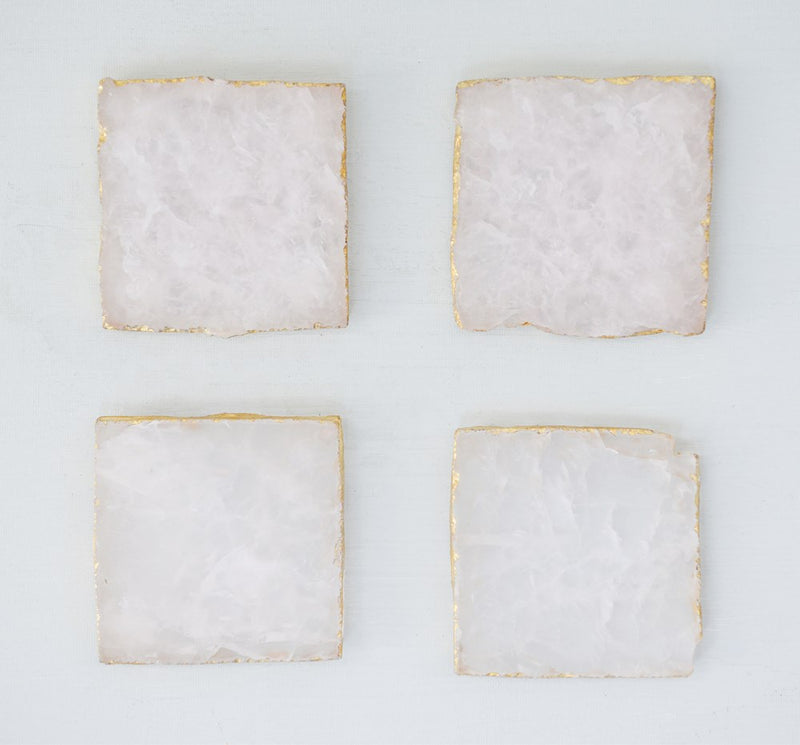 "4"" Square Agate Coasters w/ Gold Foil Trim, Pink, Set of 4"
