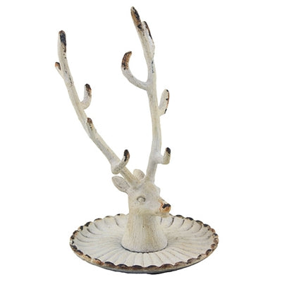 Vintage Deer Jewelry Holder White