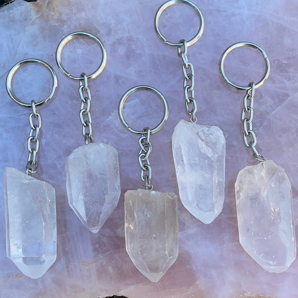Clear Quartz Crystal Keychains