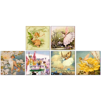 Set of 6 Vintage Fairy Match Boxes