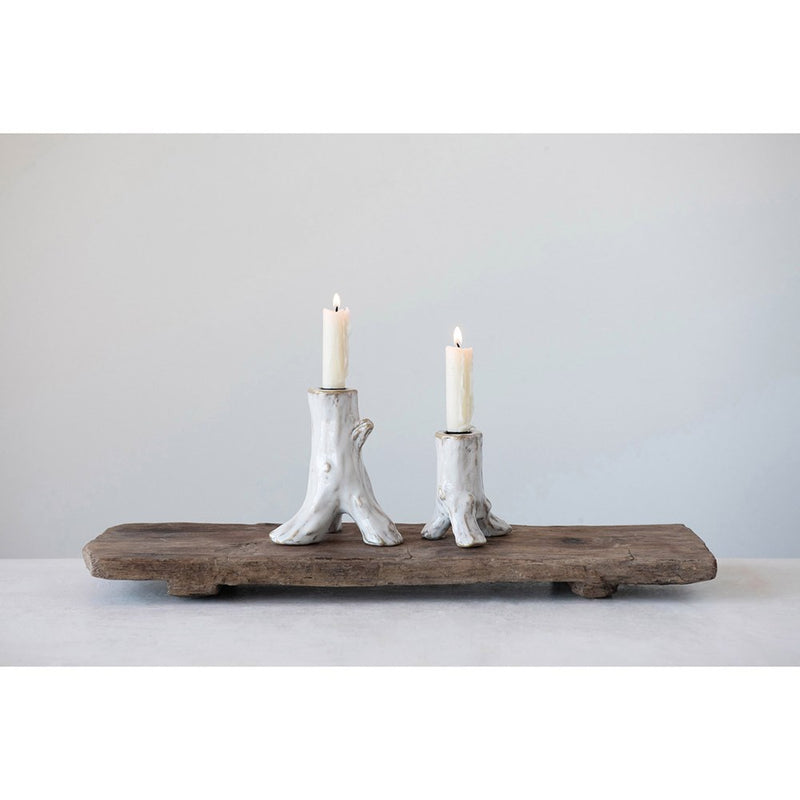 Tree Stump Stoneware Glazed Candle Holder