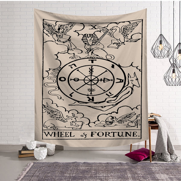 Wheel of Fortune - Tarot Card - Tapestry / Altar Cloth