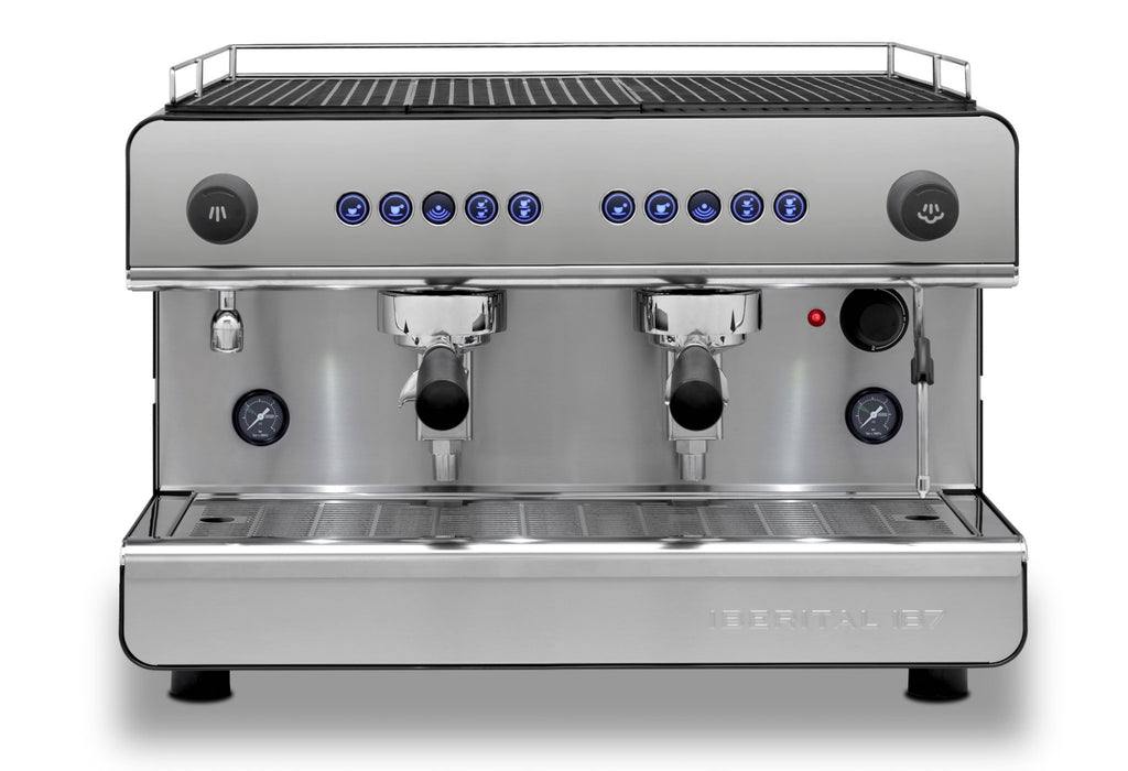 Iberital IB7 Compact 2 group espresso machine. Small machine that punches above its weight