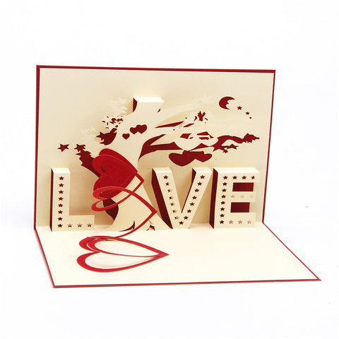 "Heart & Tree Popup Card with ""LOVE"""