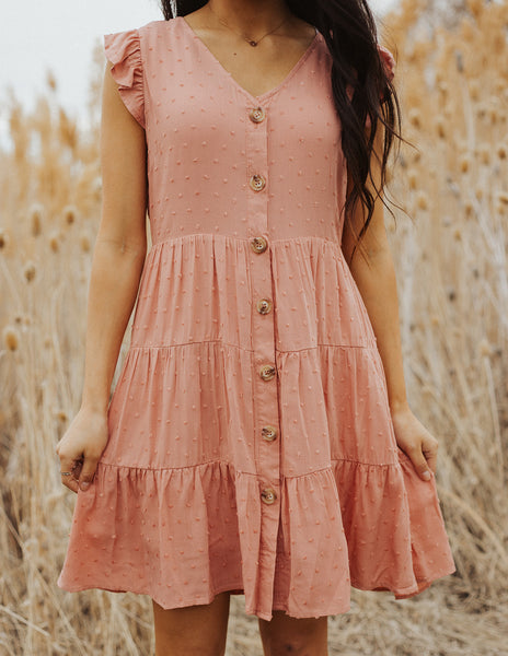 Sydney Swiss Dot Dress- Dusty Pink