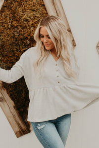 Ollie Peplum Top (Heather Grey)