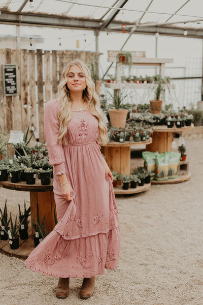 Dallan Embroidered Midi Dress