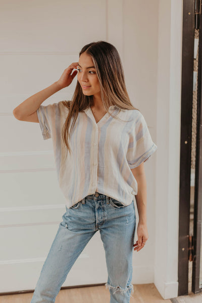 Over The Rainbow Button Down Top