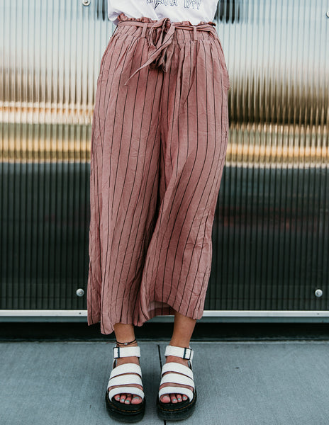 Devin Paper Bag Pant (Light Mauve Stripe)
