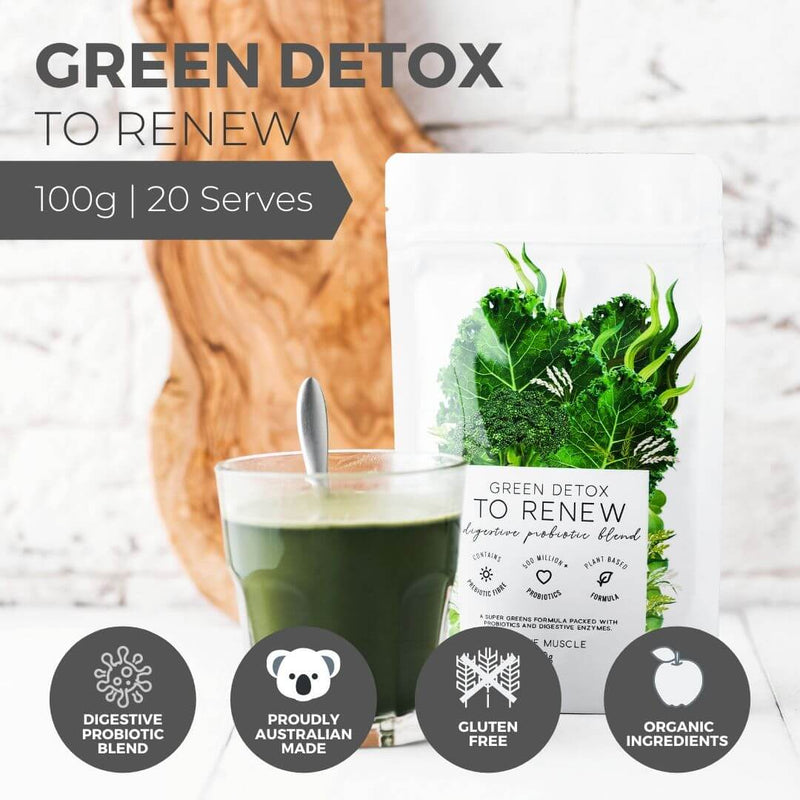 Green Detox To Renew - Superfood & Digestive Probiotic Blend - Unique Muscle
