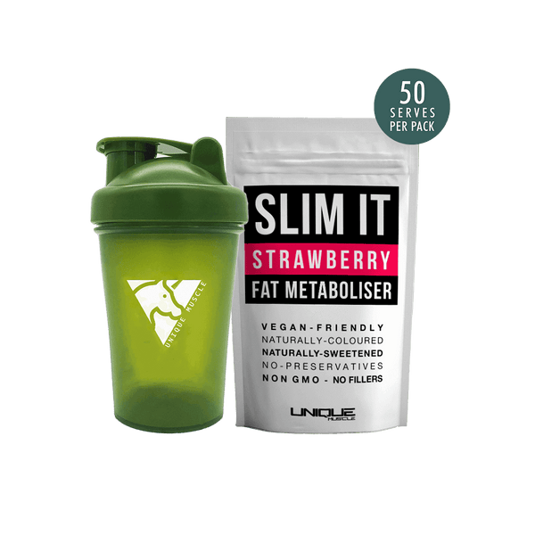 Slim It Fat Metaboliser + Shaker Pack - Strawberry - Unique Muscle
