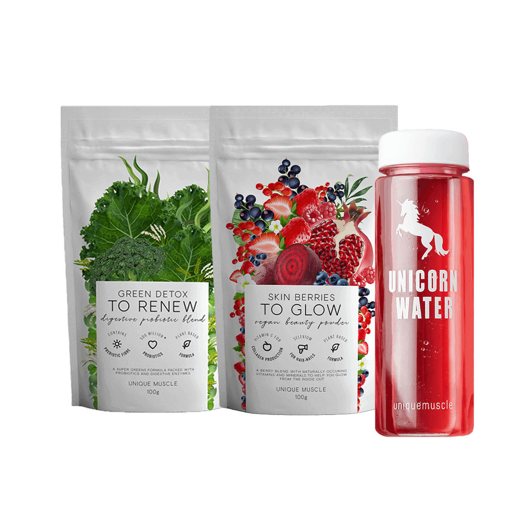 Unicorn Water Green Detox & Skin Berries Wellness Pack - Unique Muscle