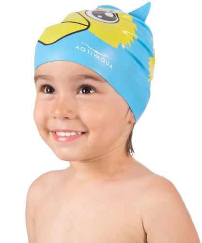 Kids Fun Silicone Swim Cap (ages 2-9) + Storage Tube by AqtivAqua