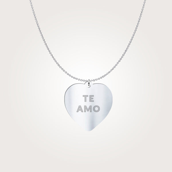 Te Amo Conversation Heart Necklace by ALLEZ ELIZABETH