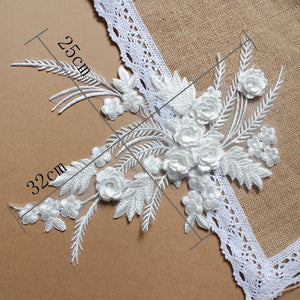 White 3D Lace Applique - DelaFur Wholesale
