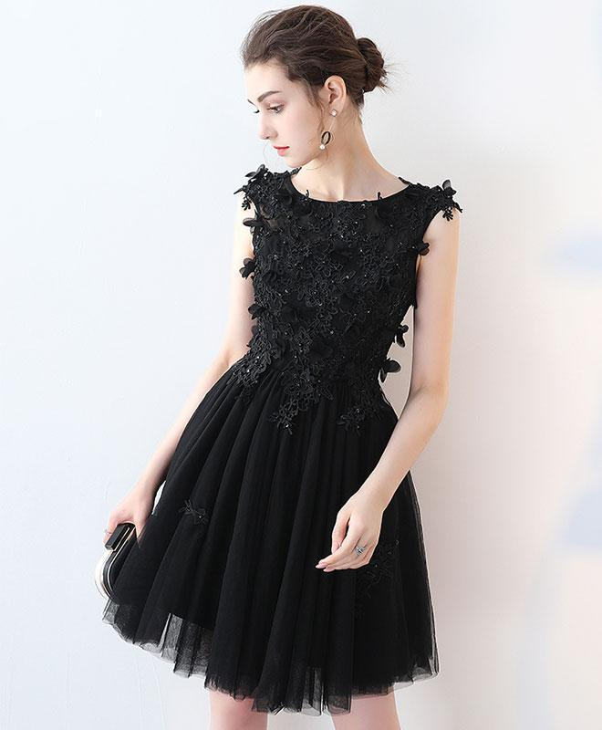 Black Round Neck Lace Mini Prom Dress,Homecoming Dress