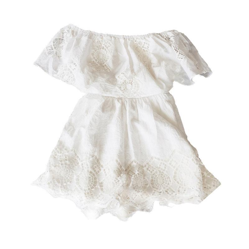 White Lace Rompers AH090 - DelaFur Wholesale