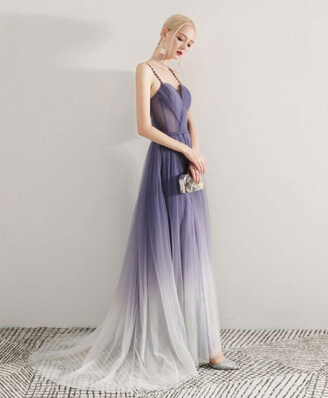 Simple Purple Tulle Long Prom Dress, Tulle Evening Dress