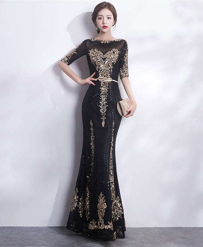 Black Round Neck Lace Mermaid Long Prom Dress, Black Evening Dress
