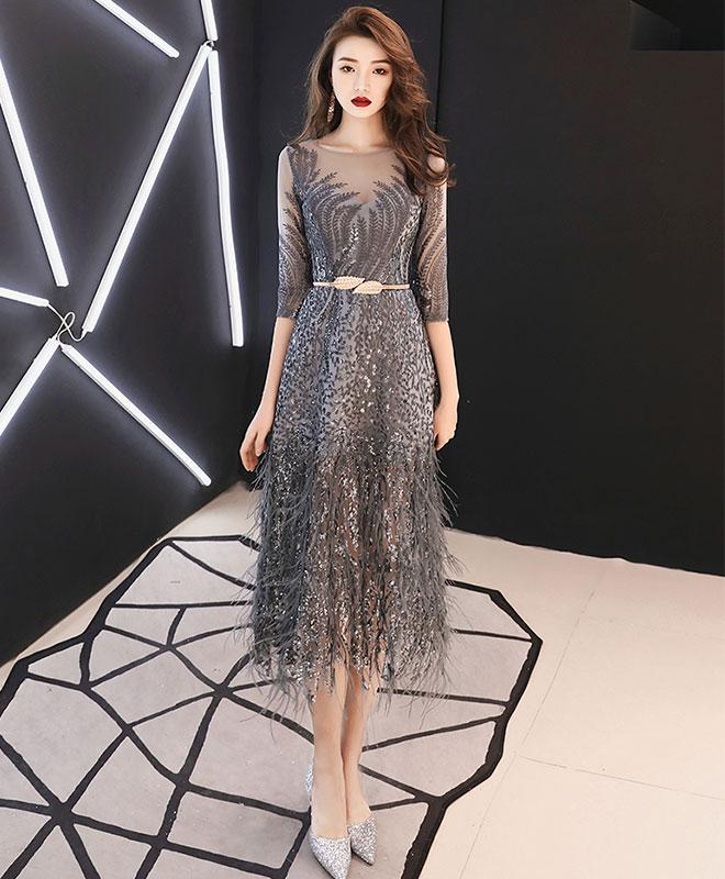 Unique Gray Lace Short Prom Dress Gray Tulle Lace Evening Dress