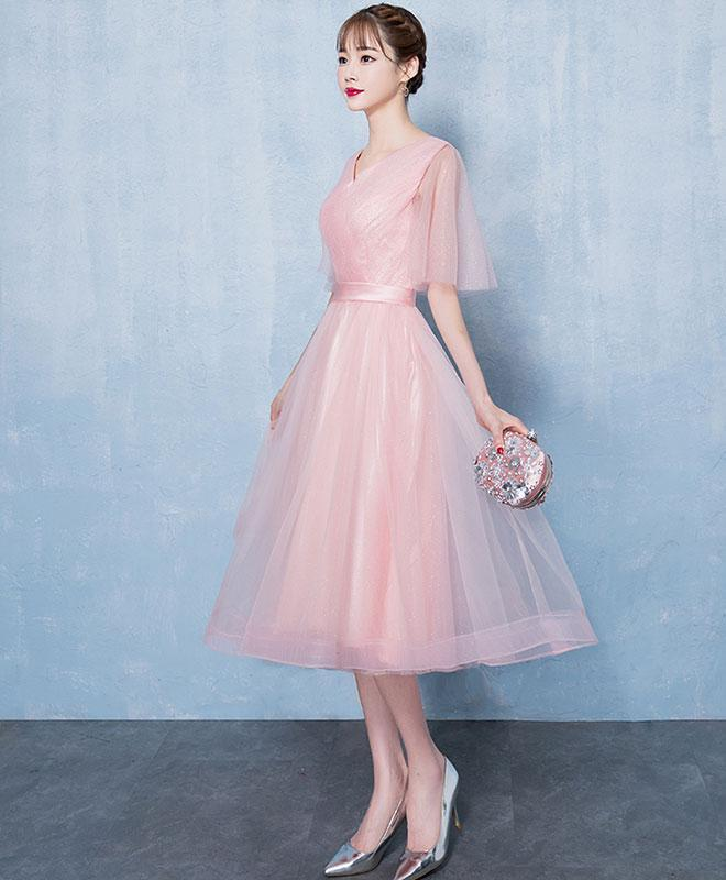 Simple V Neck Tulle Short Prom Dress, Pink Tulle Homecoming Dress
