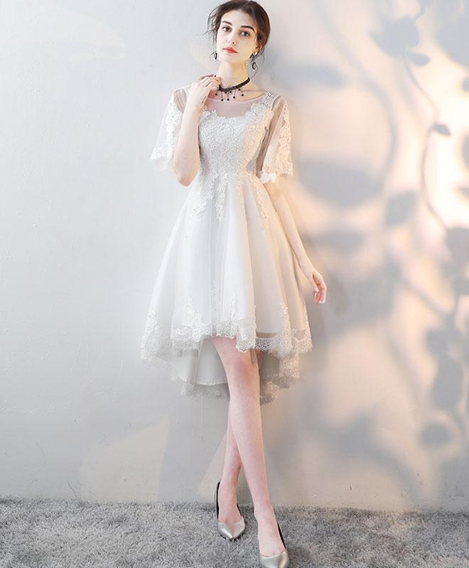 White Round Neck Tulle Lace Short Prom Dress, White Homecoming Dress