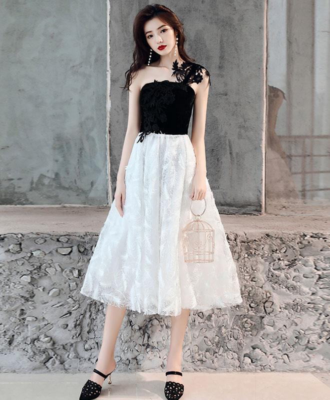 White One Shoulder Tulle Short Prom Dress, Homecoming Dress